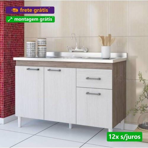 Balcão Para Pia (Sem Tampo/Sem Pia) Brasil Nogal Salina - Indekes