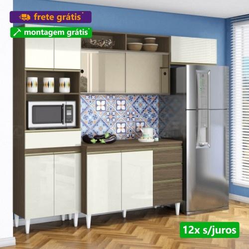 Cozinha Clara 04 Peças com balcão Vidro Reflex Ambar Off White Aramóveis