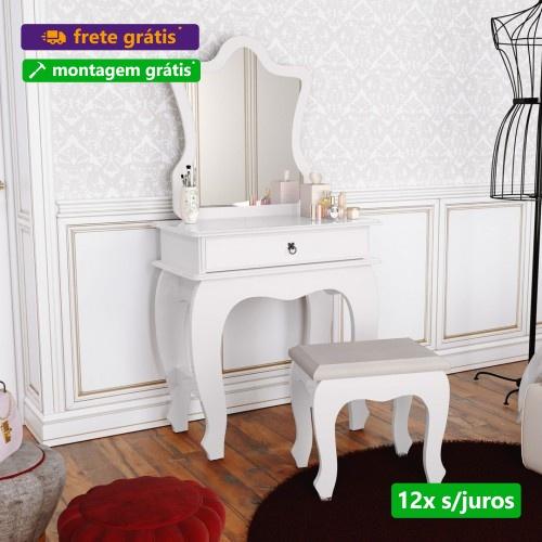 Penteadeira  Baby Luxo com Espelho e Banquinho - Branco - JB Bechara