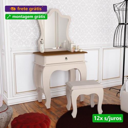 Penteadeira  Baby Luxo 7200 com Espelho e Banquinho Pérola Caramelo - JB Bechara