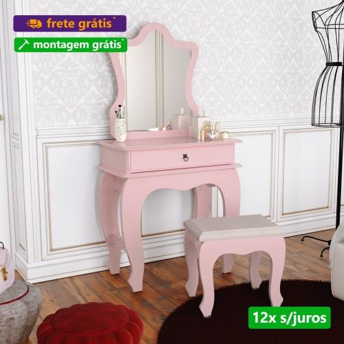 Penteadeira Com Espelho e Banquinho Baby Luxo Rose - JB Bechara