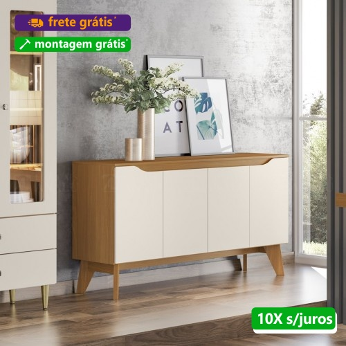 Balcão Buffet Quartzo 04 Portas Nature Off White S351- Henn