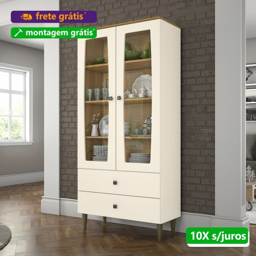 Cristaleira Liz 2 Portas Nature Off White C230 - Henn