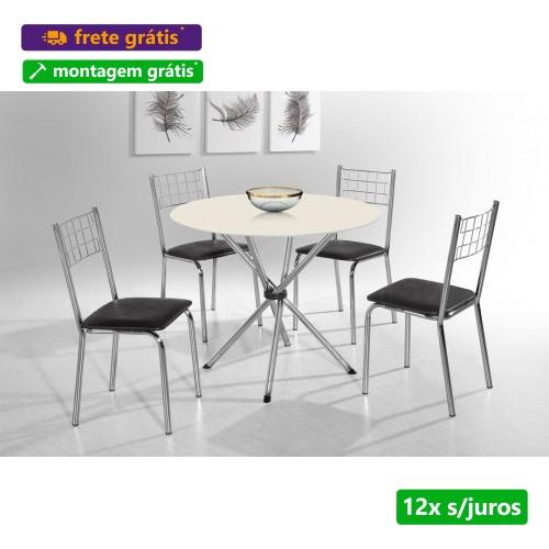Conjunto Mesa Liz Cromada c/ 4 Cadeiras Tampo de Vidro - Aço Nobre