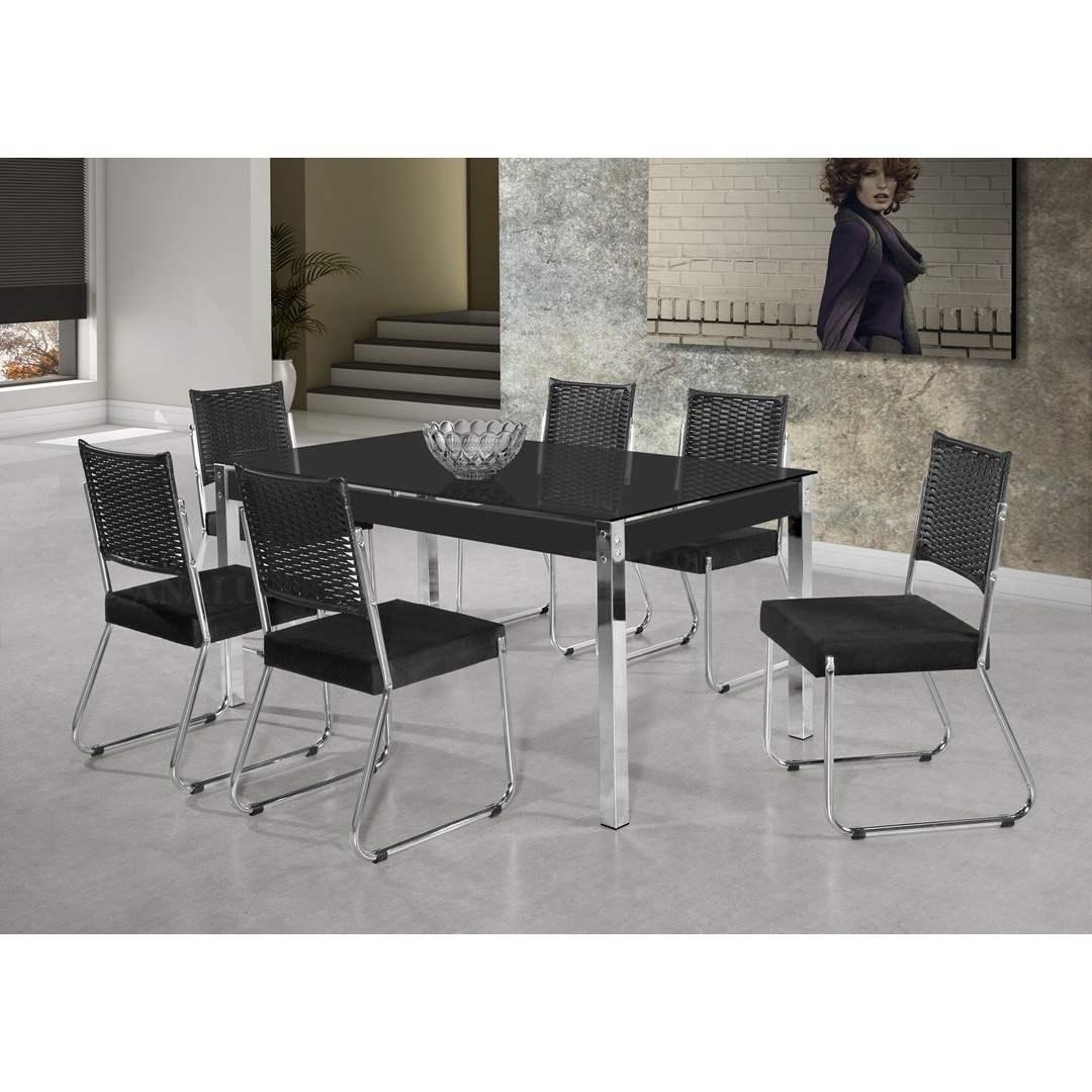 Mesa de Jantar com 6 Cadeiras Facinare 1,60mt Vidro Preto - Aço Nobre