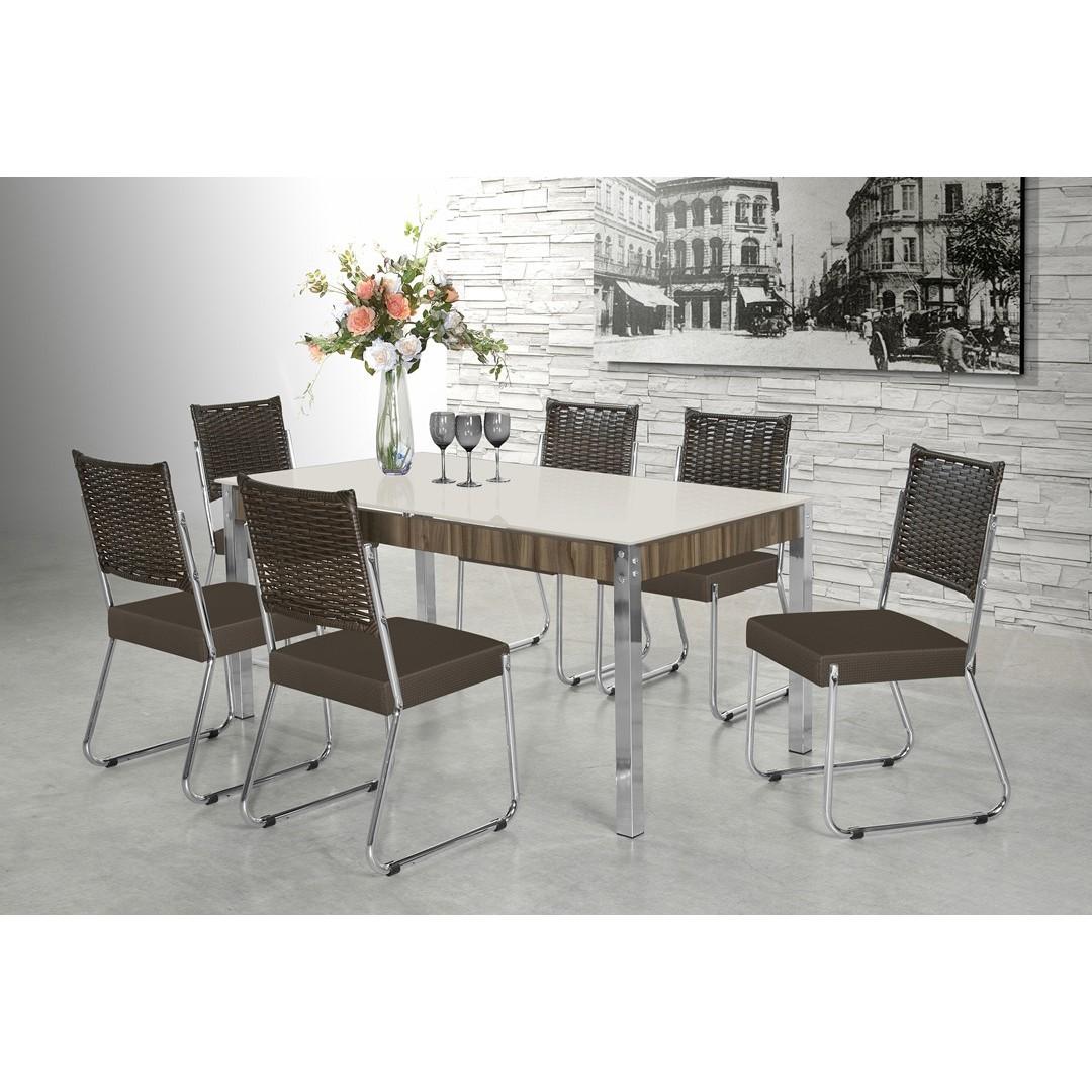 Mesa de Jantar com 6 Cadeiras Facinare 1,60mt Vidro Branco - Aço Nobre