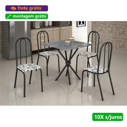 Mesa com Tampo de Granito e 4 Cadeiras Rio - Móveis Teixeira